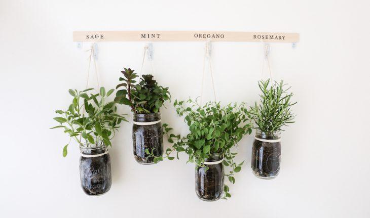 spring diy hanging mason jar herb garden - Hanging Herb Garden