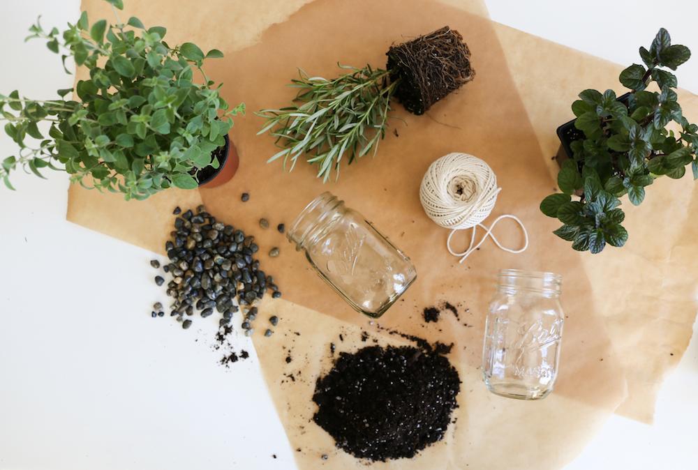 To Make These Hanging Mason Jar Herb Gardens, Youu0027ll Need: