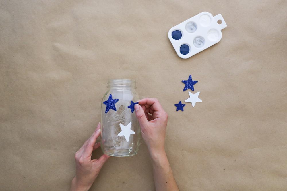 Placing stars on jar
