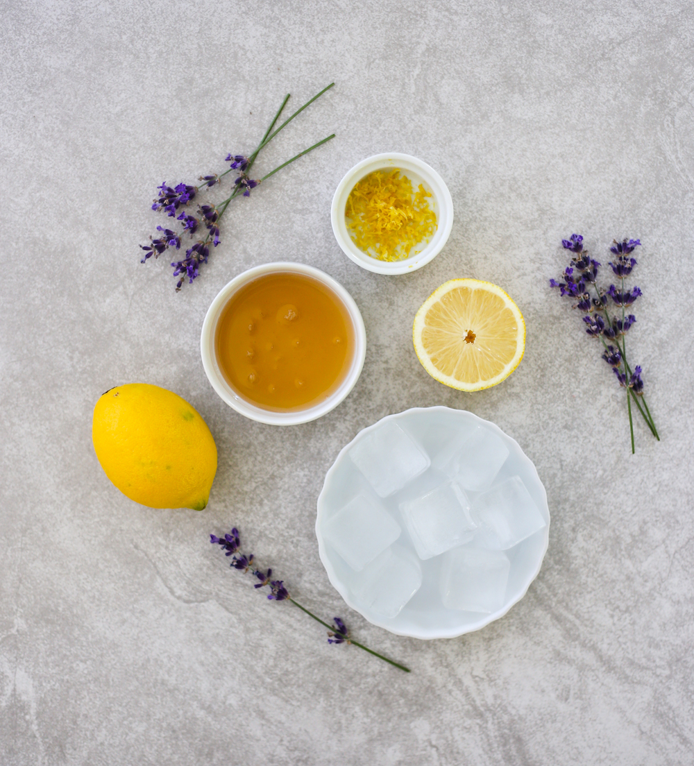 Ingredients for lavender lemonade