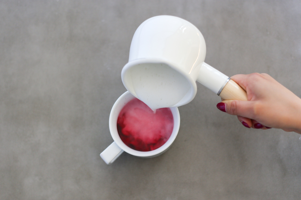 pouring milk in beet