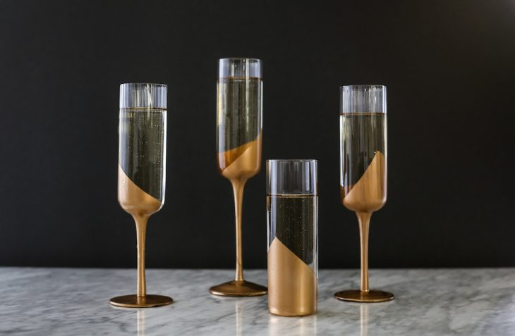 'Tis the Season for DIYs: NYE Gold Dipped Glasses
