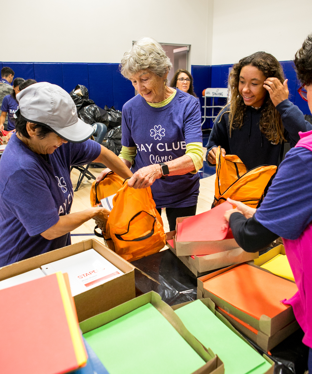 Over 5,000 Backpacks Donated for Bay Club Cares!