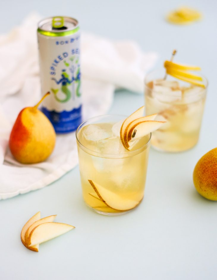 Spiked Seltzer Cocktail: Pear Elderflower Seltzer with Bourbon and Honey